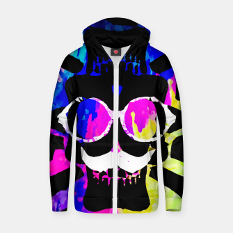 Thumbnail image of old vintage funny skull art portrait with painting abstract background in pink blue yellow green Zip up hoodie, Live Heroes
