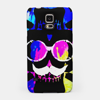 Thumbnail image of old vintage funny skull art portrait with painting abstract background in pink blue yellow green Samsung Case, Live Heroes