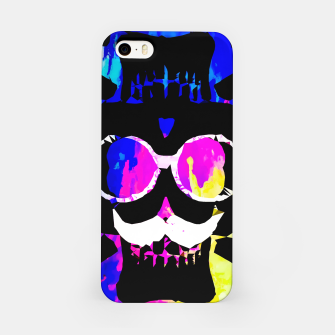 Thumbnail image of old vintage funny skull art portrait with painting abstract background in pink blue yellow green iPhone Case, Live Heroes