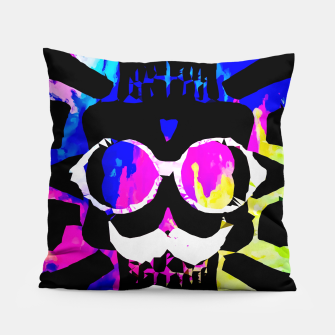 Thumbnail image of old vintage funny skull art portrait with painting abstract background in pink blue yellow green Pillow, Live Heroes