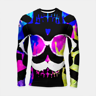 Thumbnail image of old vintage funny skull art portrait with painting abstract background in pink blue yellow green Longsleeve rashguard , Live Heroes
