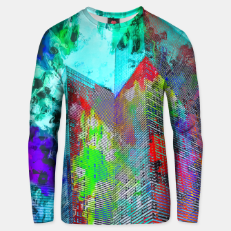 Miniatur modern building at Las Vegas, USA with colorful painting abstract background Unisex sweater, Live Heroes