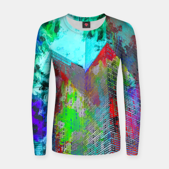 Miniatur modern building at Las Vegas, USA with colorful painting abstract background Women sweater, Live Heroes