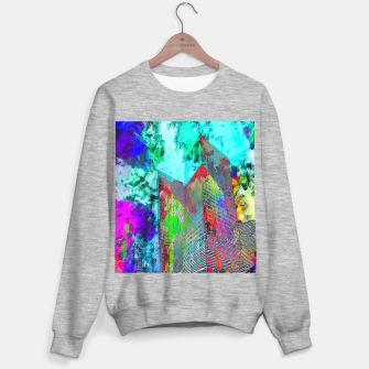Miniatur modern building at Las Vegas, USA with colorful painting abstract background Sweater regular, Live Heroes