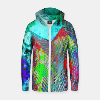Miniatur modern building at Las Vegas, USA with colorful painting abstract background Zip up hoodie, Live Heroes