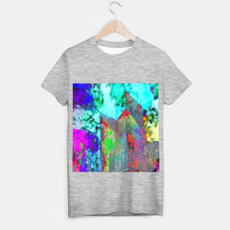 Miniatur modern building at Las Vegas, USA with colorful painting abstract background T-shirt regular, Live Heroes