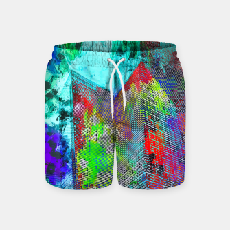 Thumbnail image of modern building at Las Vegas, USA with colorful painting abstract background Swim Shorts, Live Heroes