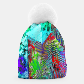 Thumbnail image of modern building at Las Vegas, USA with colorful painting abstract background Beanie, Live Heroes