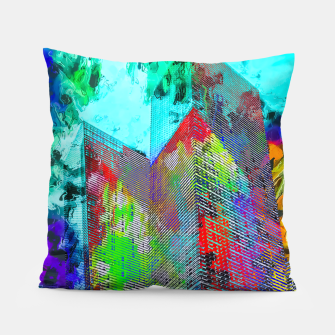 Miniatur modern building at Las Vegas, USA with colorful painting abstract background Pillow, Live Heroes