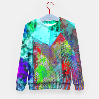 Miniatur modern building at Las Vegas, USA with colorful painting abstract background Kid's sweater, Live Heroes