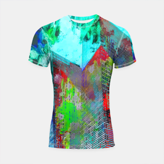 Miniatur modern building at Las Vegas, USA with colorful painting abstract background Shortsleeve rashguard, Live Heroes