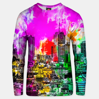 Miniatur building in the city at San Francisco, USA with colorful painting abstract background Unisex sweater, Live Heroes