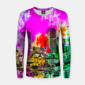 building in the city at San Francisco, USA with colorful painting abstract background Women sweater thumbnail image
