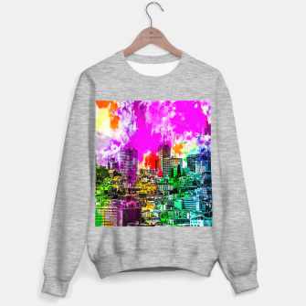building in the city at San Francisco, USA with colorful painting abstract background Sweater regular thumbnail image