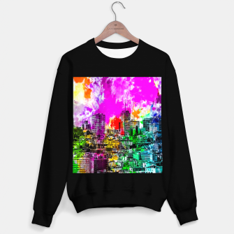 Thumbnail image of building in the city at San Francisco, USA with colorful painting abstract background Sweater regular, Live Heroes