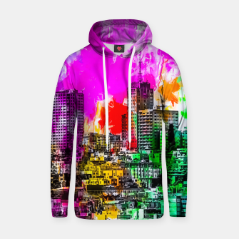 Thumbnail image of building in the city at San Francisco, USA with colorful painting abstract background Hoodie, Live Heroes