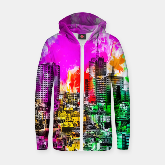 Thumbnail image of building in the city at San Francisco, USA with colorful painting abstract background Zip up hoodie, Live Heroes