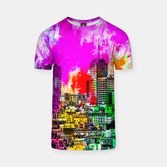 building in the city at San Francisco, USA with colorful painting abstract background T-shirt thumbnail image