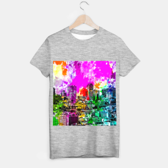 building in the city at San Francisco, USA with colorful painting abstract background T-shirt regular thumbnail image