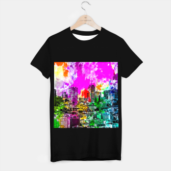Thumbnail image of building in the city at San Francisco, USA with colorful painting abstract background T-shirt regular, Live Heroes