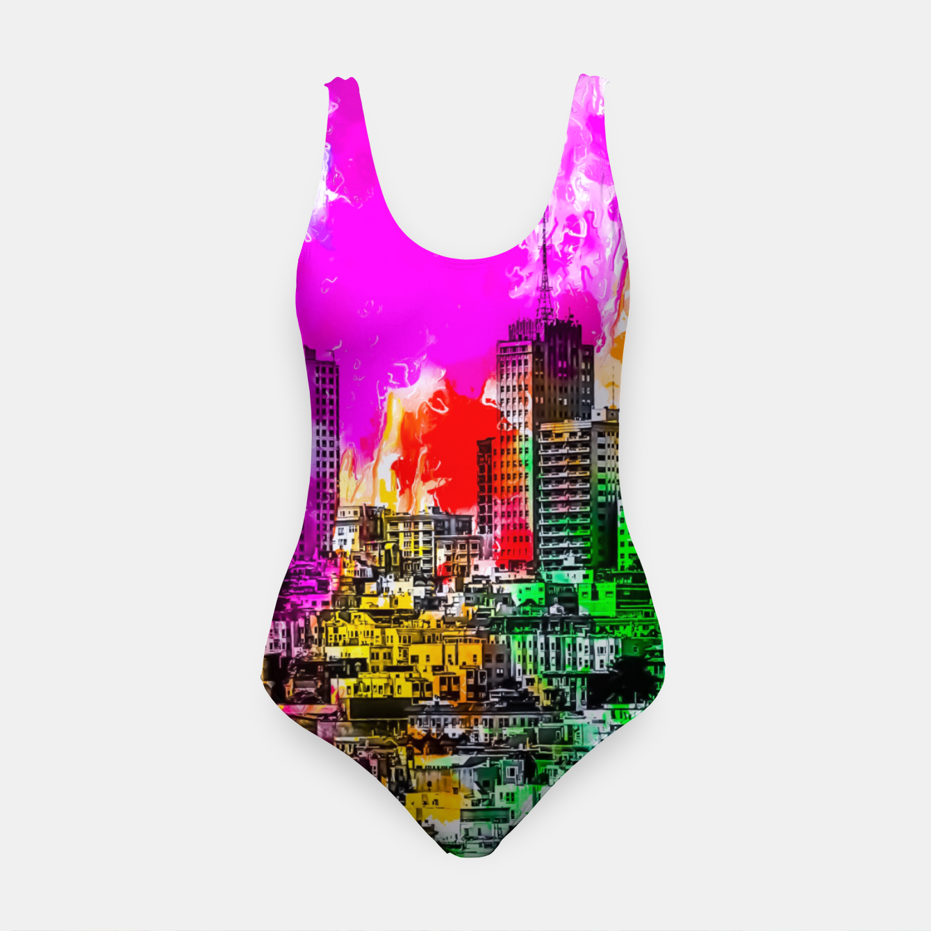 Image of building in the city at San Francisco, USA with colorful painting abstract background Swimsuit - Live Heroes