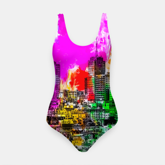 building in the city at San Francisco, USA with colorful painting abstract background Swimsuit thumbnail image
