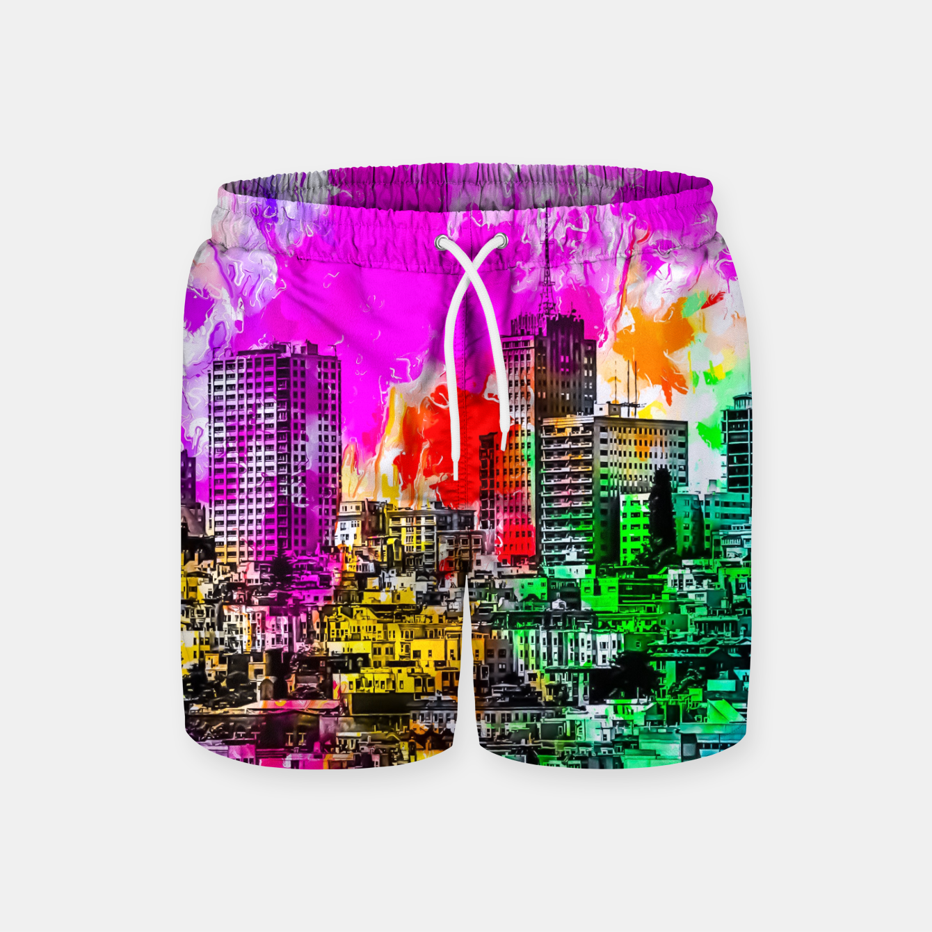 Image of building in the city at San Francisco, USA with colorful painting abstract background Swim Shorts - Live Heroes
