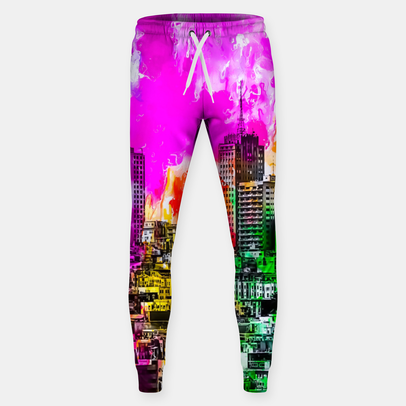 Image of building in the city at San Francisco, USA with colorful painting abstract background Sweatpants - Live Heroes