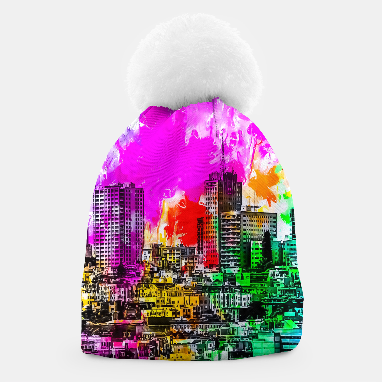 Image of building in the city at San Francisco, USA with colorful painting abstract background Beanie - Live Heroes