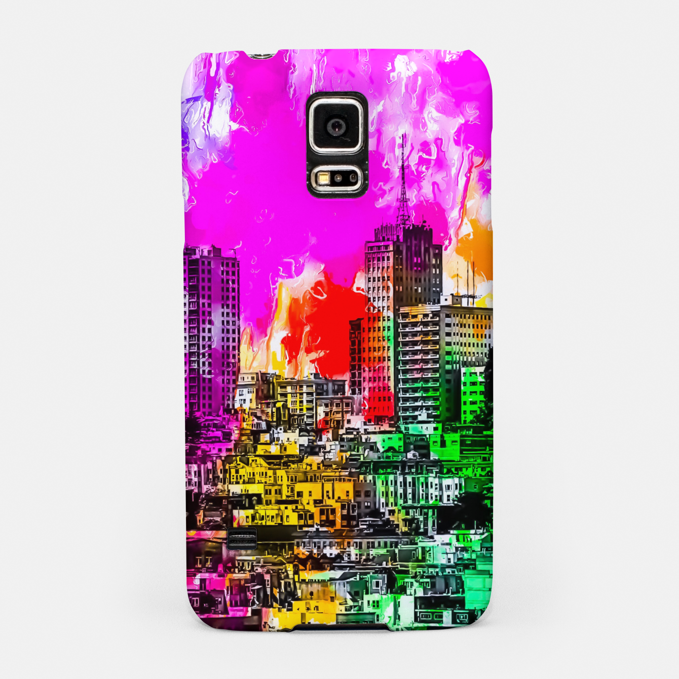 Image of building in the city at San Francisco, USA with colorful painting abstract background Samsung Case - Live Heroes