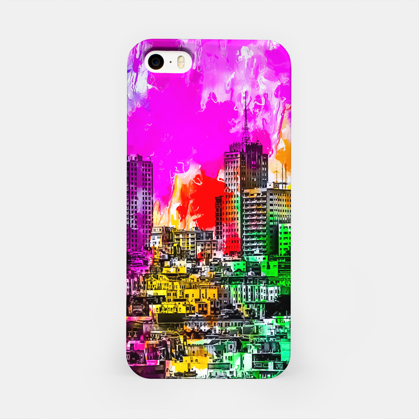 Image of building in the city at San Francisco, USA with colorful painting abstract background iPhone Case - Live Heroes