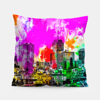 Thumbnail image of building in the city at San Francisco, USA with colorful painting abstract background Pillow, Live Heroes