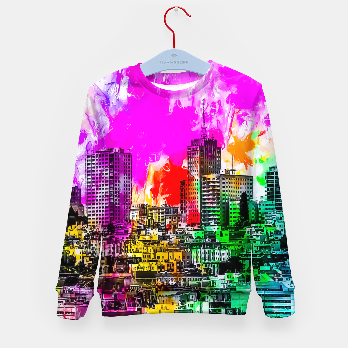 Image of building in the city at San Francisco, USA with colorful painting abstract background Kid's sweater - Live Heroes