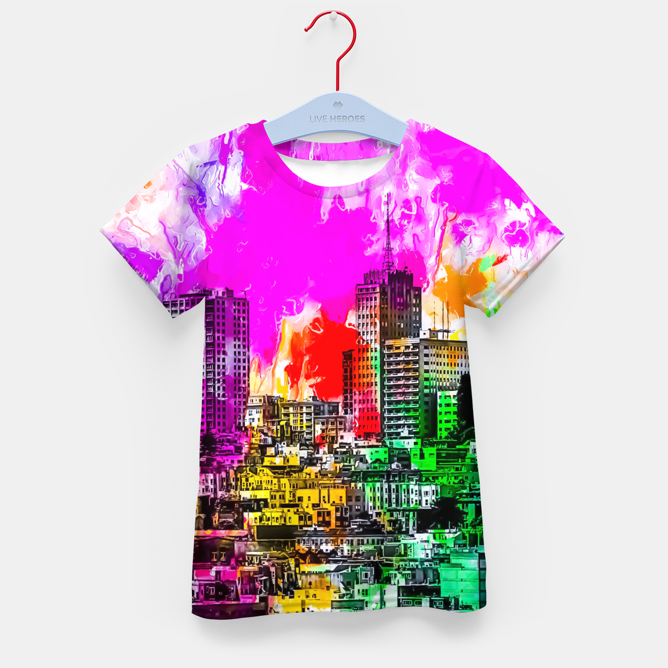 Image of building in the city at San Francisco, USA with colorful painting abstract background Kid's t-shirt - Live Heroes