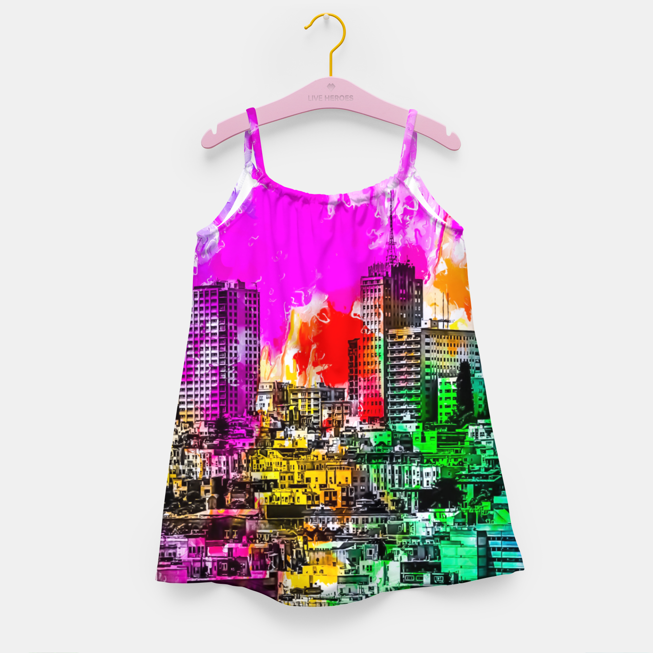 Image of building in the city at San Francisco, USA with colorful painting abstract background Girl's dress - Live Heroes