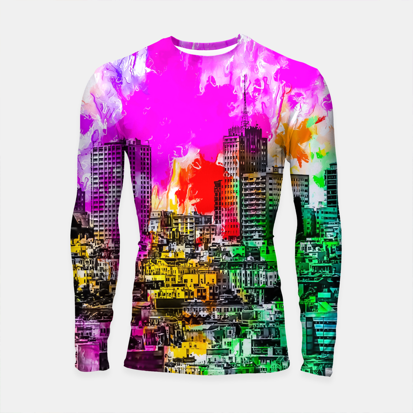 Image of building in the city at San Francisco, USA with colorful painting abstract background Longsleeve rashguard  - Live Heroes
