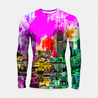 building in the city at San Francisco, USA with colorful painting abstract background Longsleeve rashguard  thumbnail image