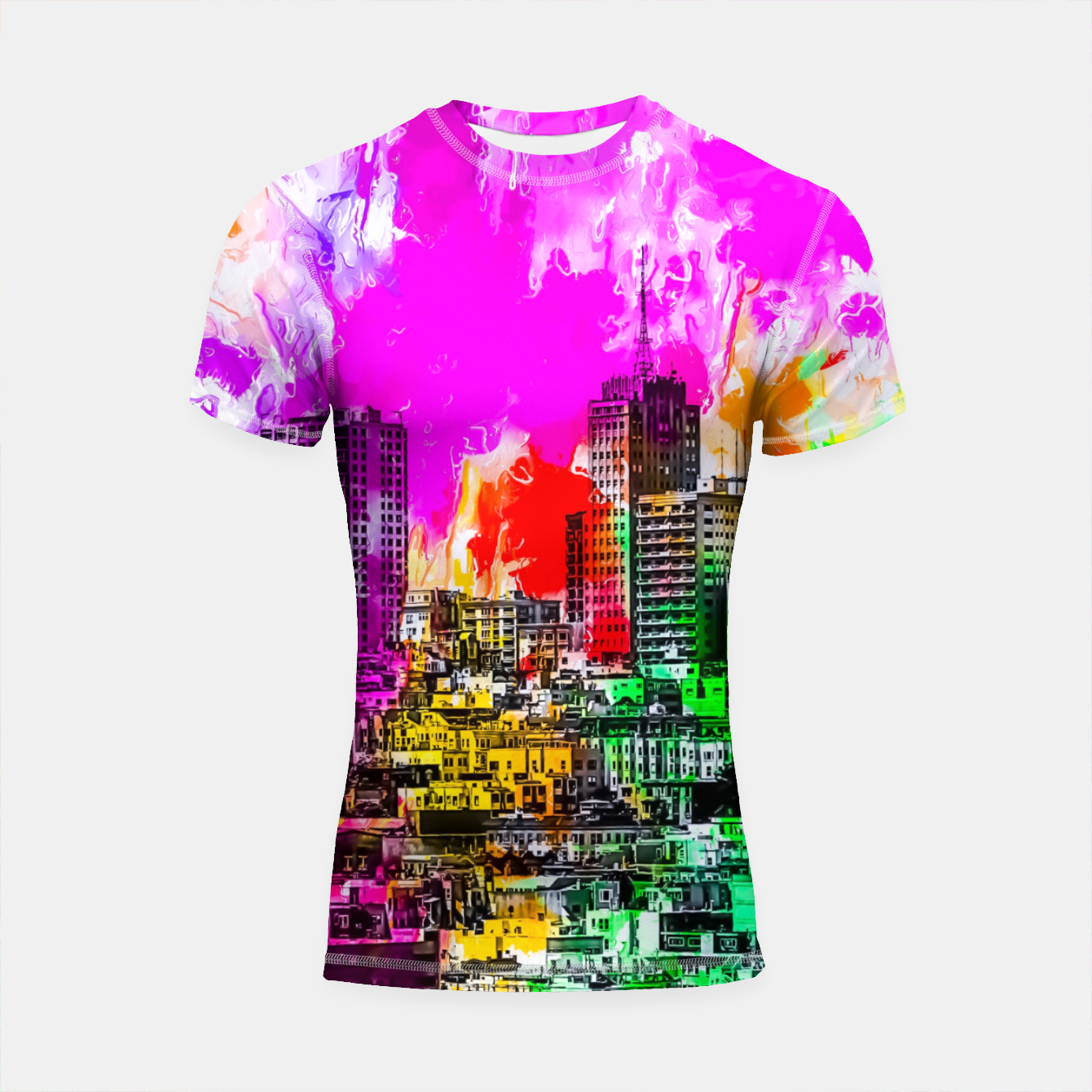 Image of building in the city at San Francisco, USA with colorful painting abstract background Shortsleeve rashguard - Live Heroes