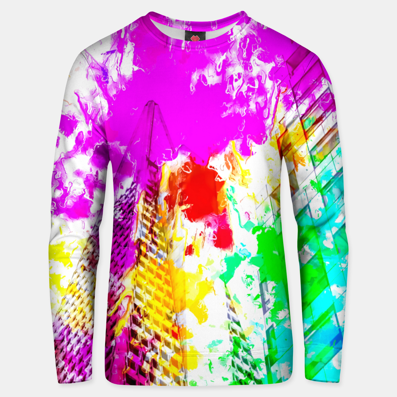 Image of pyramid building and modern building exterior at San Francisco, USA with colorful painting abstract background Unisex sweater - Live Heroes