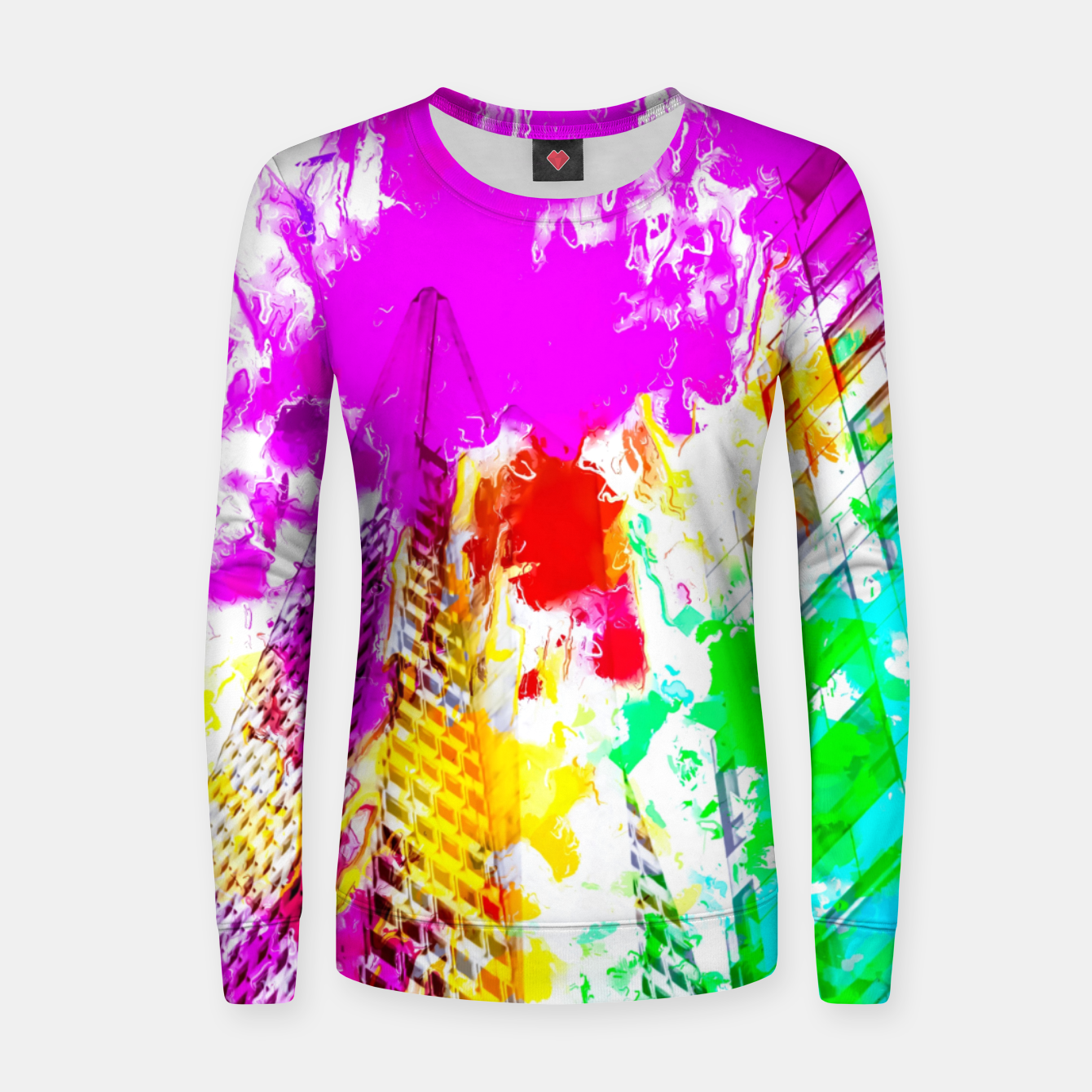 Image of pyramid building and modern building exterior at San Francisco, USA with colorful painting abstract background Women sweater - Live Heroes
