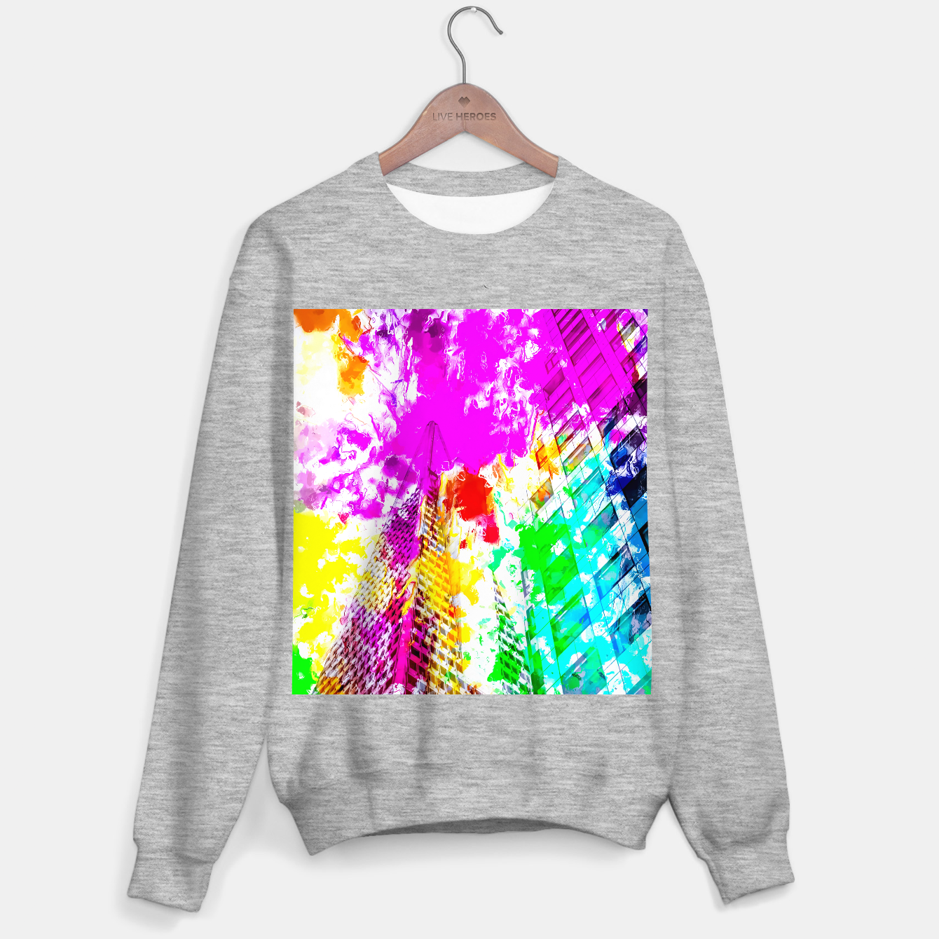 Image of pyramid building and modern building exterior at San Francisco, USA with colorful painting abstract background Sweater regular - Live Heroes
