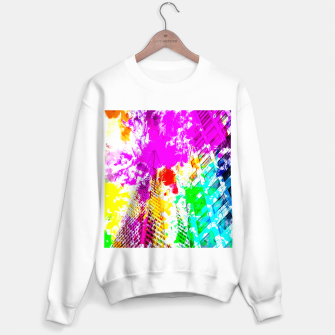 Thumbnail image of pyramid building and modern building exterior at San Francisco, USA with colorful painting abstract background Sweater regular, Live Heroes