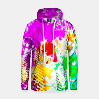 Thumbnail image of pyramid building and modern building exterior at San Francisco, USA with colorful painting abstract background Hoodie, Live Heroes