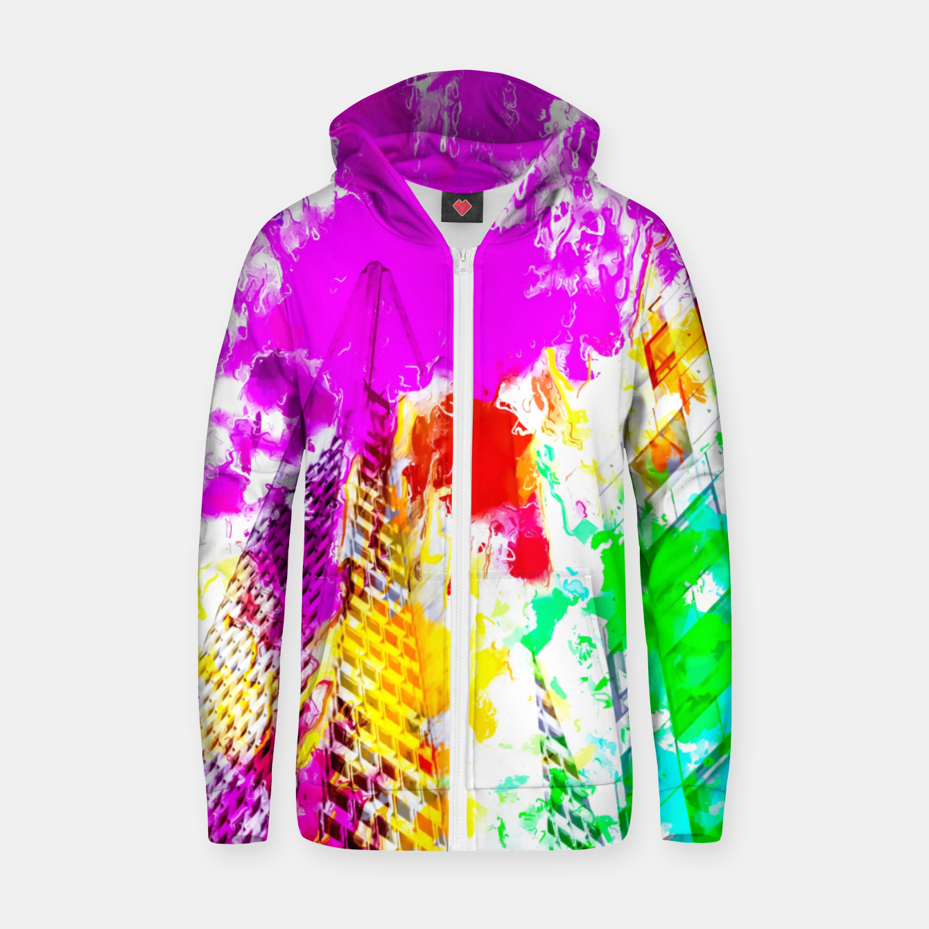 Image of pyramid building and modern building exterior at San Francisco, USA with colorful painting abstract background Zip up hoodie - Live Heroes