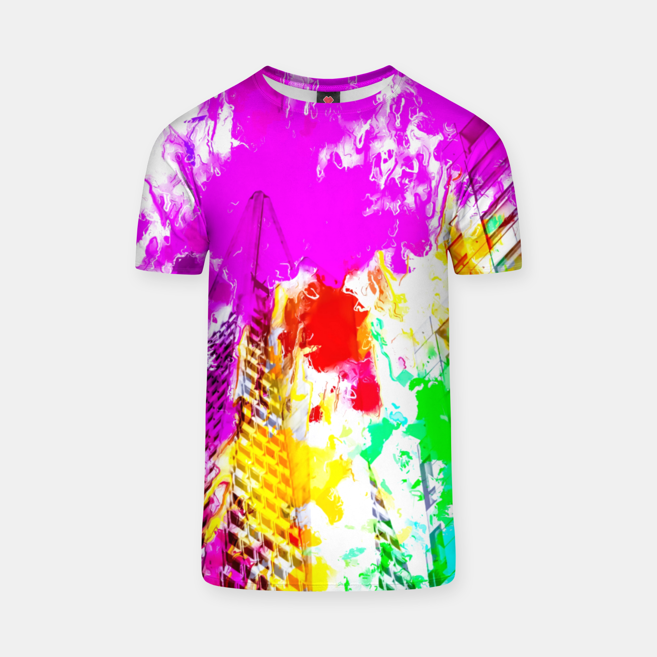 Image of pyramid building and modern building exterior at San Francisco, USA with colorful painting abstract background T-shirt - Live Heroes