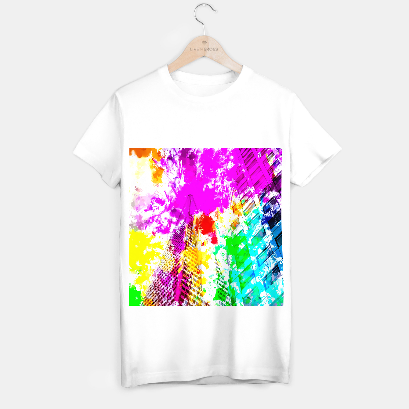 Image of pyramid building and modern building exterior at San Francisco, USA with colorful painting abstract background T-shirt regular - Live Heroes