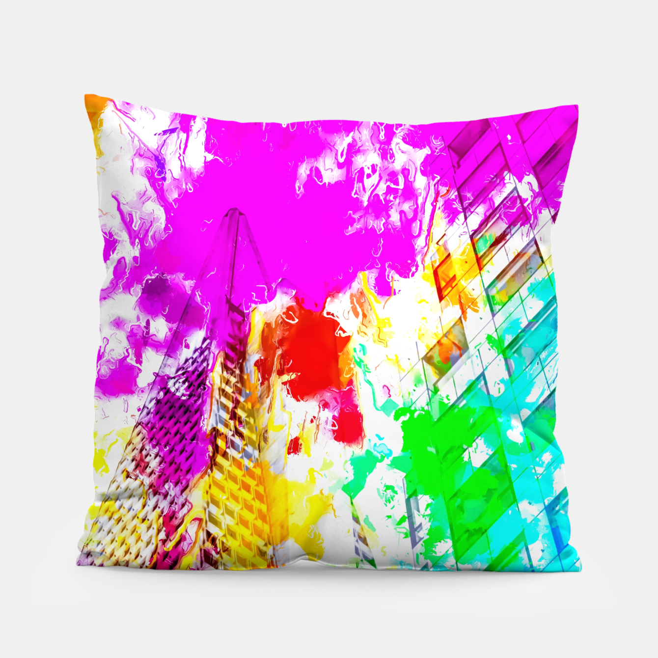 Image of pyramid building and modern building exterior at San Francisco, USA with colorful painting abstract background Pillow - Live Heroes