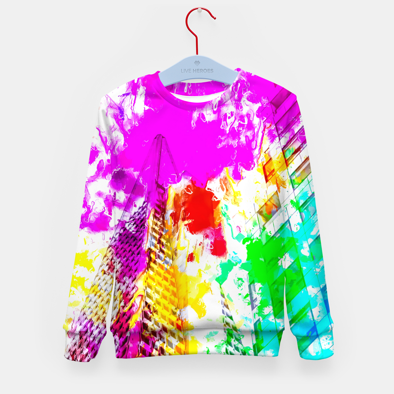 Image of pyramid building and modern building exterior at San Francisco, USA with colorful painting abstract background Kid's sweater - Live Heroes