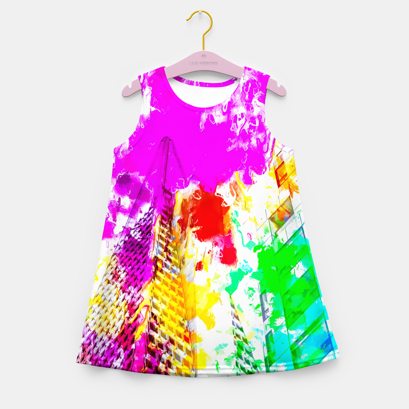 Image of pyramid building and modern building exterior at San Francisco, USA with colorful painting abstract background Girl's summer dress - Live Heroes