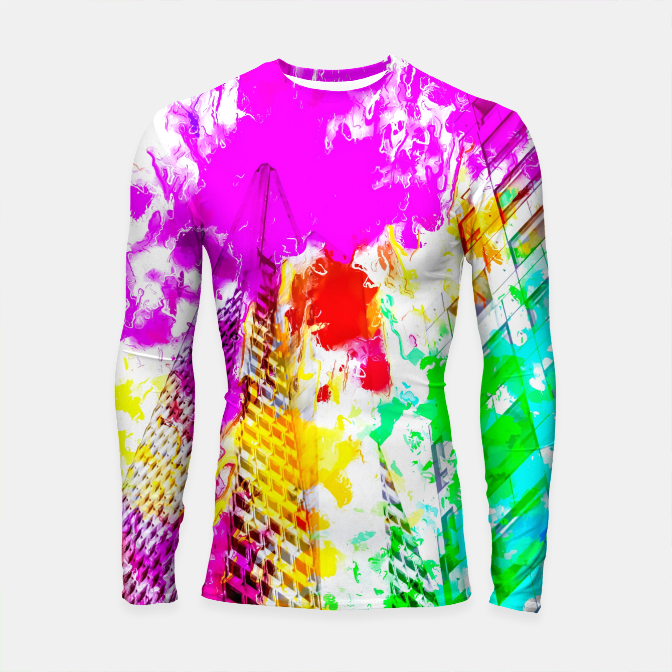 Image of pyramid building and modern building exterior at San Francisco, USA with colorful painting abstract background Longsleeve rashguard  - Live Heroes